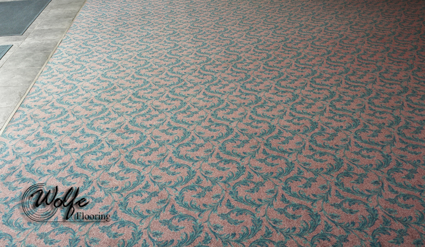 The sunlight beaming through the left side both illuminated and faded the carpet.