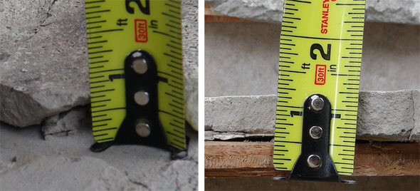 Side and top view of a layer of old floor patch was 3/4 of an inch thick (3/4″) thick.