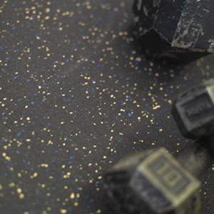 Rubber Floor Sample - Speckled Black and Yellow Weigh Room