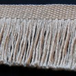 W6B2501 Knotless Fringe in Light Beige (3) Black Background Side View without Flash