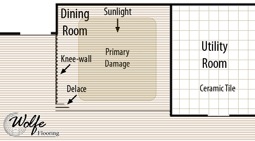 Diagram of the Dining Room with a Section Marking the Primary Moisture