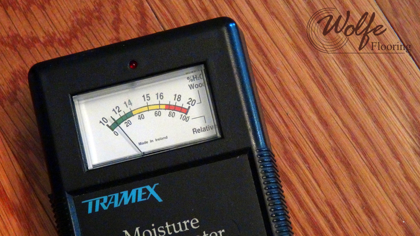Tramex Digital Moisture Meter - Higher Reading Approaching the Dining Table