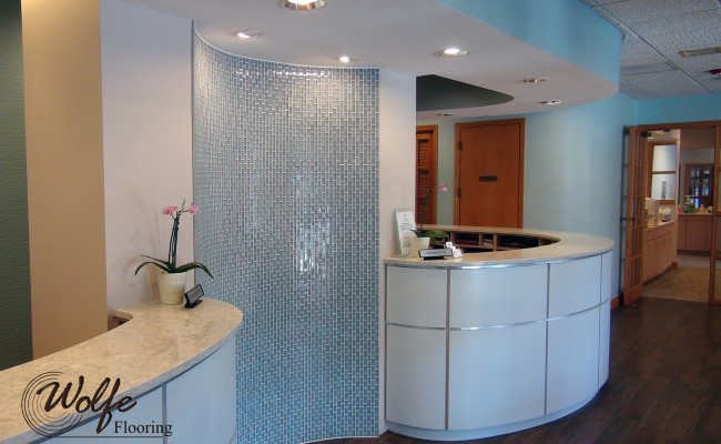 03 Waiting Room – Mosaic Glass on a Curved Wall and Porcelain Wood Tile