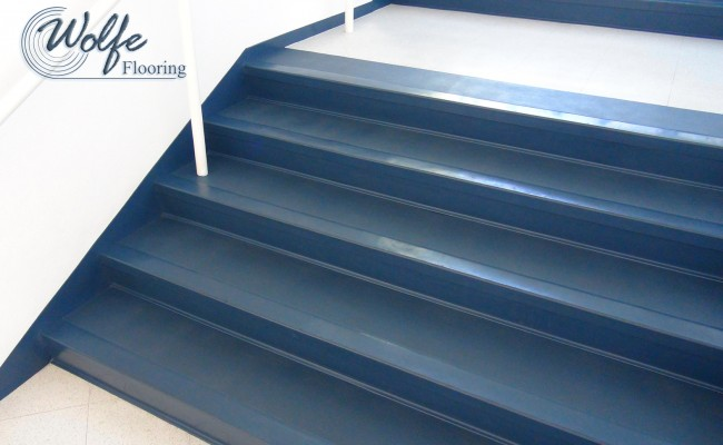 07 Commercial Roppe Rubber Flooring on Stair Treads Risers and Stringers