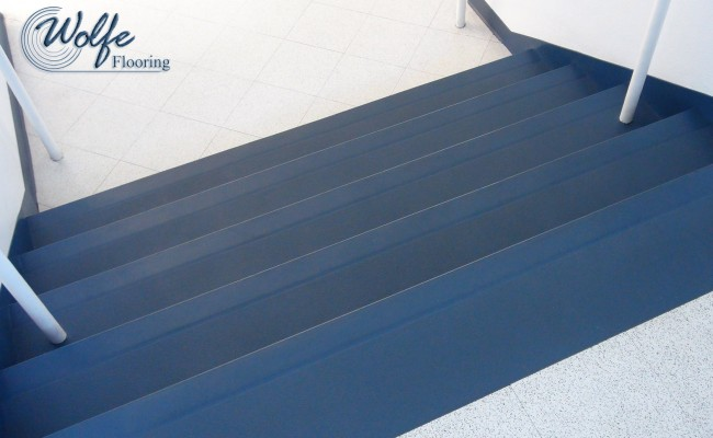 10 Commercial Roppe Rubber Flooring on Stair Treads Risers and Stringers