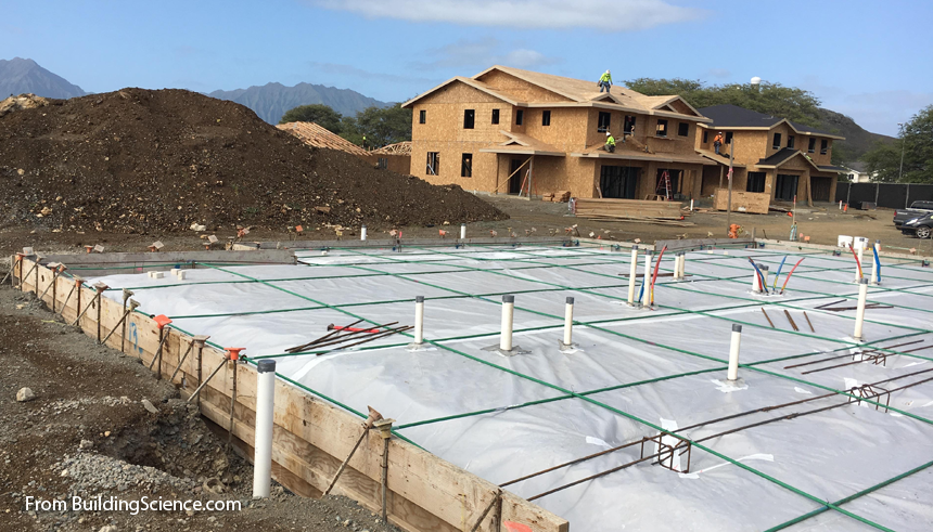 Polyethylene Sheeting before Pouring the Concrete Slab