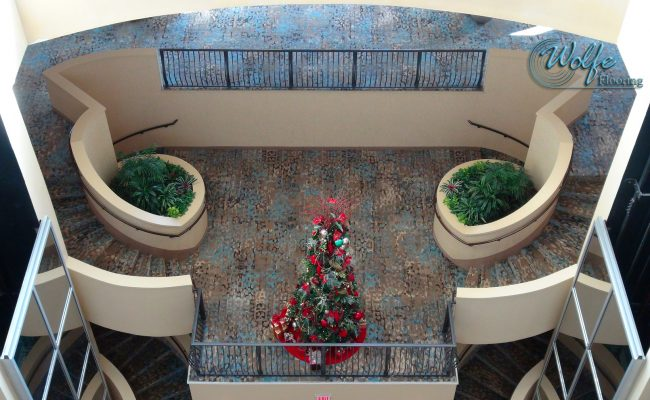 20-Story Open Atrium Hotel (09) – Grand Staircase – 2-Story Double Circular Staircase