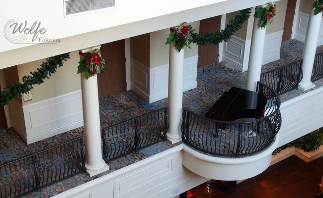 20-Story Open Atrium Hotel (13) – Carpet on Piano Balcony and Under Rails