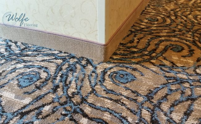 20-Story Open Atrium Hotel (17) – 4-Inch Carpet Wall Base and Corridor Carpet – Close View