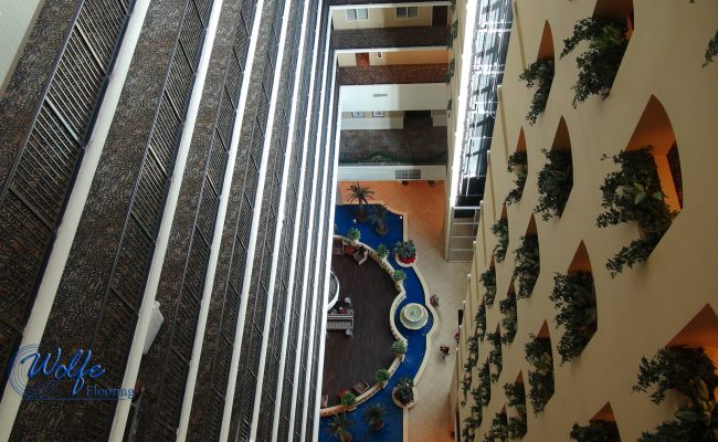 20-Story Open Atrium Hotel (19) – Open Atrium – Corridor Carpet – Side View