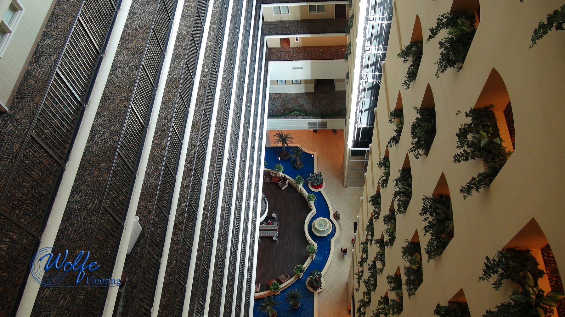 20 Story Open Atrium Hotel Custom Carpet And Porcelain