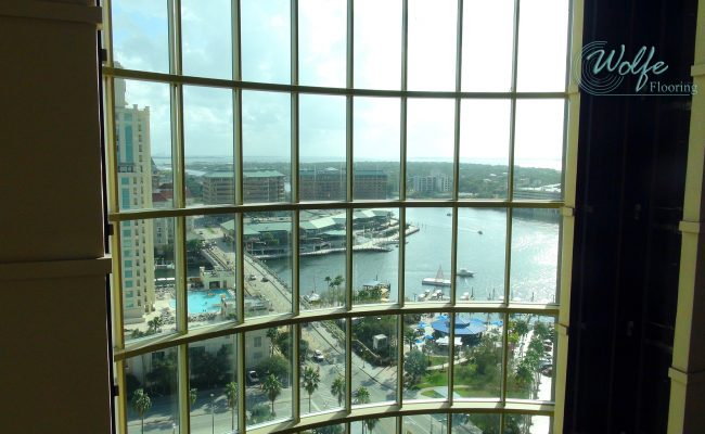 20-Story Open Atrium Hotel (22) – Open Atrium – Skyline View of Downtown Tampa Waterway