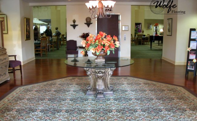 05 Carpet and Hardwood for Venice Seniors Entrance Inset Rug and Hardwood