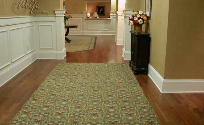 5S Clearwater Senior Living 03 Carpet Inlays into Hardwood – Public Space