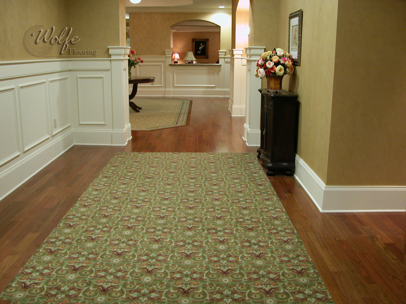 Hardwood floor with carpet inlay carpet vidalondon for Carpet flooring