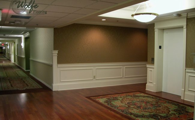 5S Clearwater Senior Living 10 Elevator Lobby – Carpet Panel Rug Inlaid into Hardwood