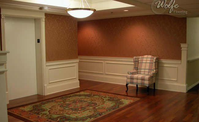 5S Clearwater Senior Living 11 Elevator Lobby – Carpet Panel Rug Inlaid into Hardwood