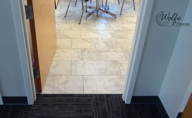 Flags Unlimited 10 Ceramic Tile with Schluter Metal in Break Room