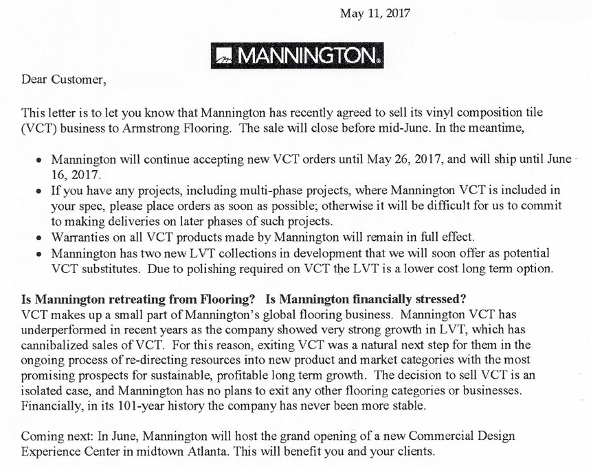 05-11-2017 Mannington Selling VCT Business to Armstrong