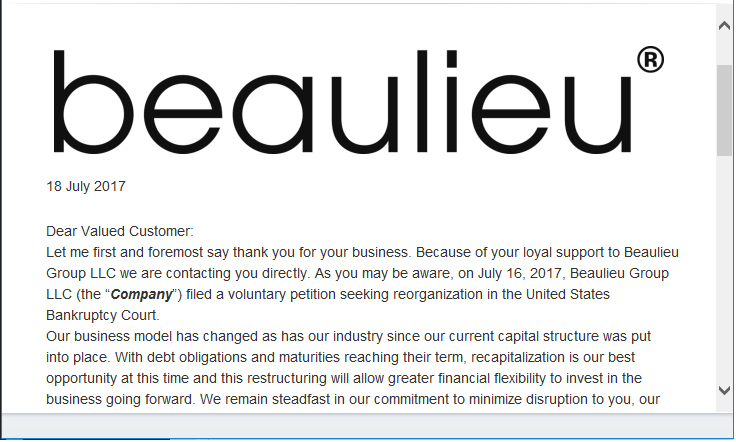 Beaulieu Group LLC's Email Announcement