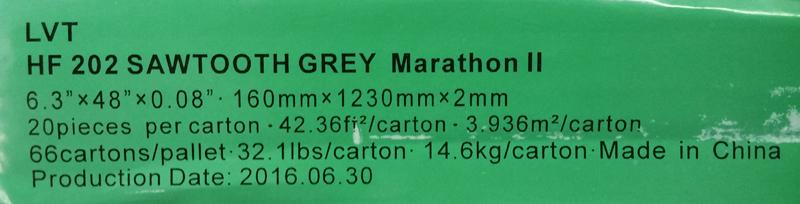 Happy Feet International's Marathon II 10-mil LVT (color HF202 Sawtooth Grey; size 6 x 48) Side Label