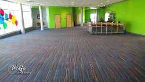 Interface Roy G Biv Carpet Tile 7447 Shadow Gray Installed
