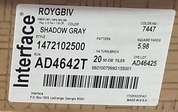 Interface Roy G Biv Carpet Tile 7447 Shadow Gray Label